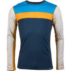 Bula RETRO WOOL CREW tmavo modrá L - Pánske tričko s dlhým rukávom