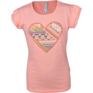 Lewro SOFI svetlo ružová 116-122 - Dievčenské tričko s s volánovým rukávom