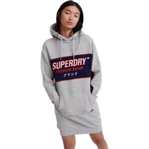Superdry GRAPHIC PANEL SWEAT DRESS šedá 14 - Dámske šaty